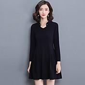 符号2017春新しい女性スリムソリッドカラーの長袖Vネックのドレスは、単語薄い女性のエレガントなスカートでした