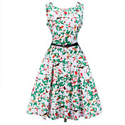 Modelos de la explosión retro del estilo del hepburn de los aliexpress de ebay era cintura fina puso un vestido de la impresión grande con
