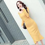薄型パッケージヒップスカート不規則なしわがドレススエードた新しい気質長袖のドレスと長いセクション春
