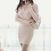 2017 versión coreana de la nueva falda de otoño suéter de moda delgada era fino v-cuello de manga larga vestido de punto