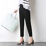 Mujer Estilo de Oficina Media cintura Inelástica Delgado Pantalones,Lápices Color sólido Color puro