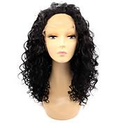 Mujer Pelucas sintéticas Encaje Frontal Medio Rizado rizado Negro Pelo Ombre Peluca natural Las pelucas del traje