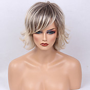 Mulher Perucas de cabelo capless do cabelo humano Cinza Curto Ondulado Natural Corte Bob Corte em Camadas Com Franjas Cabelo Ombre Raízes