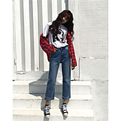 Mujer Sencillo Tiro Medio Inelástica Vaqueros Pantalones,Perneras anchas Un Color