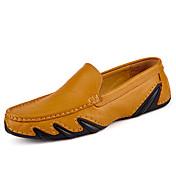 Hombre Zapatos Cuero Primavera Otoño Confort Zapatos De Buceo Zapatos de taco bajo y Slip-On Para Casual Negro Marrón Azul