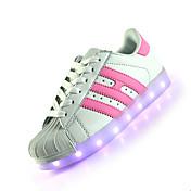 レディース-カジュアル-レザー-フラットヒール-靴を点灯-スニーカー-