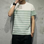 メンズ カジュアル/普段着 Tシャツ,シンプル ラウンドネック ストライプ コットン 半袖