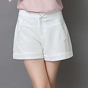 Mujer Chic de Calle Tiro Alto Microelástico Shorts Chinos Pantalones,Delgado Un Color