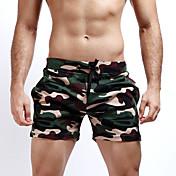 Hombre Sexy Sencillo Chic de Calle Activo Tiro Medio Microelástico Chinos Shorts Pantalones,Corte Recto DelgadoEstampado Camuflaje Bloque