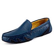 Hombre Zapatos Cuero Primavera Verano Confort Zapatos De Buceo Zapatos de taco bajo y Slip-On Para Deportivo Casual Negro Marrón Azul