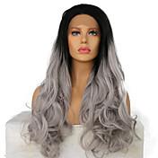Mujer Pelucas sintéticas Encaje Frontal Medio Largo Ondulado Gris oscuro Pelo Ombre Peluca afroamericana Para mujeres de color Peluca