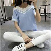 Mujer Simple Casual/Diario Camiseta,Escote Redondo Un Color Manga Corta Algodón Fino
