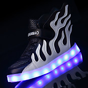 Chico-Tacón Bajo-Confort Suelas con luz Light Up Zapatos-Zapatillas de deporte-Exterior Informal Deporte-Tul-Rosa Negro/blanco