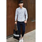 メンズ カジュアル/普段着 シャツ,シンプル レギュラーカラー ストライプ コットン 長袖