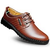 Hombre-Tacón Plano-Confort Zapatos formales-Oxfords-Boda Oficina y Trabajo Informal-Cuero-
