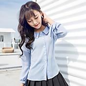 レディース カジュアル/普段着 シャツ,シンプル シャツカラー ソリッド レーヨン 長袖