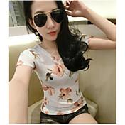 Mujer Simple Casual/Diario Verano Camiseta,Escote Redondo Geométrico Manga Corta Algodón Transparente