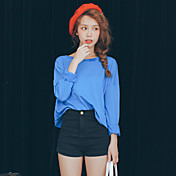 Mujer Bonito Noche Camiseta,Escote Redondo Un Color Manga Larga Algodón