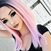 女性の耐熱繊維毛のかつらのためのt1b /ピンクのレースのフロントのかつら合成ombreストレートヘア