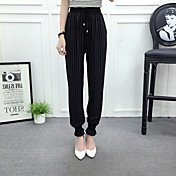 Mujer Sencillo Tiro Alto Microelástico Chinos Pantalones,Corte Ancho A Rayas