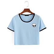 レディース カジュアル/普段着 Tシャツ,シンプル 活発的 ラウンドネック ソリッド ストライプ コットン 半袖