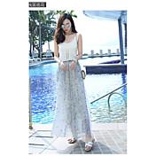 Mujer Chic de Calle Tiro Medio Microelástico Chinos Pantalones,Perneras anchas Estampado Un Color