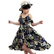 Djevojka je Poliester Cvjetni print Ljeto Bez rukava Haljina