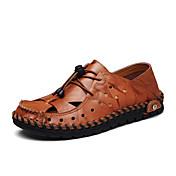 メンズ サンダル ライト付きソール 穴の靴 レザー 春 夏 オフィス カジュアル ゴア フラットヒール ブラック ライトブラウン ダークブラウン フラット