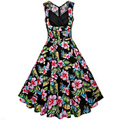 Dámské Vintage Jdeme ven Dovolená Velké velikosti Swing Šaty Květinový,Bez rukávů Do V Midi Bavlna Léto Mid Rise Neelastické Střední