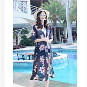 Mujer Sexy Playa Verano Blusa,Escote en Pico Floral Manga Larga Seda Transparente