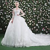 Salón Cuello en V Catedral Encaje Tul Vestido de novia con Cuentas Lentejuela Apliques por QZ