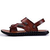 Hombre-Tacón Plano-Confort Suelas con luz-Zapatillas de deporte-Informal-PU-Marrón Claro Morrón Oscuro