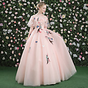 Salón Princesa Bateau Neck Hasta el Suelo Satén Tul Evento Formal Vestido con Apliques Bordados Flor(es) Ceñido por QZ
