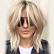 Kvinder Human Hair Capless Parykker Platin Blond Medium Bølget Frisure i lag Med bangs / pandehår Side del