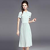 Mujer Camisa Vestido Vacaciones Noche Simple,Un Color Cuello Camisero Midi Manga Corta Poliéster Verano Tiro Medio Rígido Medio