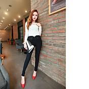 Mujer Sencillo Tiro Medio Chinos Pantalones,Pitillo Un Color