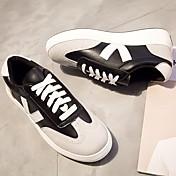 MujerSuelas con luz-Zapatos de taco bajo y Slip-Ons-Informal-Cuero-Blanco Negro