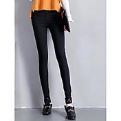 Mujer Sencillo Tiro Medio Alta elasticidad Ajustado Pantalones,Pitillo Un Color