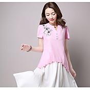 Mujer Vintage Tejido Oriental Noche Vacaciones Verano Camiseta,Escote Redondo Un Color Floral Manga Corta Algodón Fibra de bambú Medio
