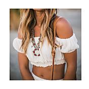 Mujer Simple Casual/Diario Camiseta,Sin Tirantes Un Color Manga Corta Algodón