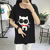 Mujer Bonito Noche Casual/Diario Vacaciones Camiseta,Escote Redondo Un Color Estampado Animal Manga Corta Algodón Medio