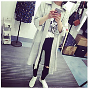 Mujer Simple Casual/Diario Primavera Camisa,Escote Redondo Un Color 3/4 Manga Algodón Fino