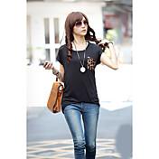 Mujer Simple Casual/Diario Camiseta,Escote Redondo Un Color Bloques Manga Corta Algodón