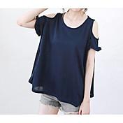 Mujer Bonito Casual/Diario Playa Verano Camiseta,Escote Redondo Un Color Manga Corta Algodón Fino Medio