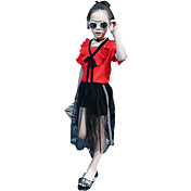 Dívčí Jedna barva Tisk Léto Celoročně Jaro Soupravy,Krátký rukáv Sady oblečení