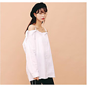 Mujer Simple Casual/Diario Camisa,Escote Barco Un Color Manga Larga Algodón Fino