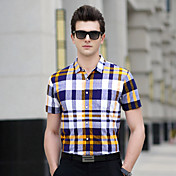 Hombre Simple Diario Trabajo Tallas Grandes Casual/Diario Verano Camiseta,Cuello Camisero A Rayas Geométrico Ajedrez Manga CortaAlgodón