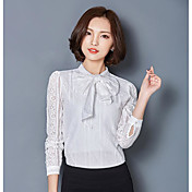 Mujer Sofisticado Casual/Diario Camiseta,Escote Redondo Un Color Manga Larga Otro