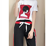 Mujer Adorable Verano T-Shirt Pantalón Trajes Manga Corta Microelástico