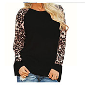 Mujer Simple Casual/Diario Camiseta,Escote Redondo Leopardo Manga Corta Algodón